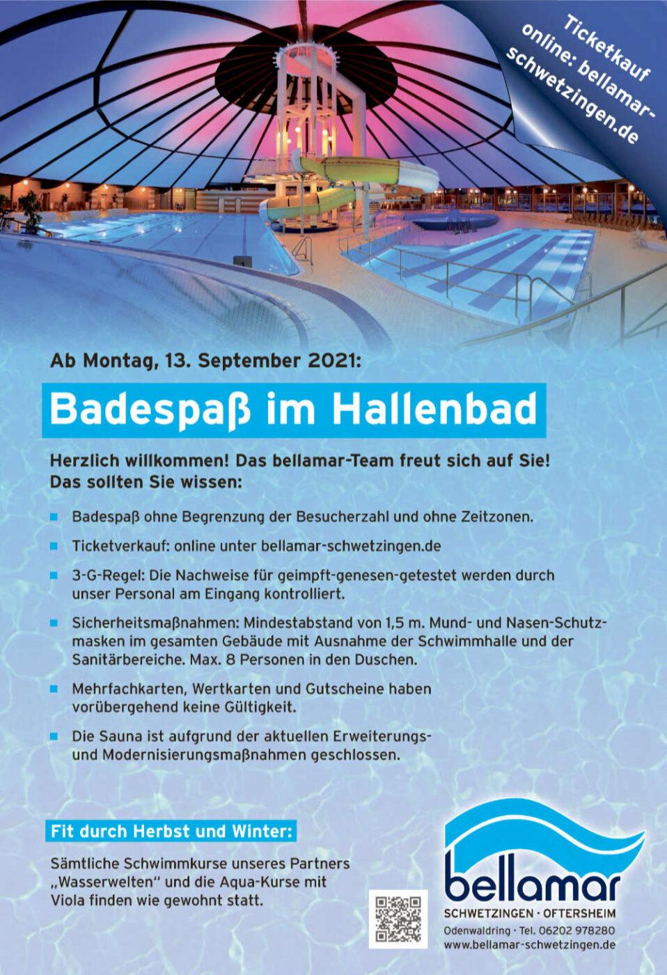 Badespaß im Hallenbad ab 13. September 2021